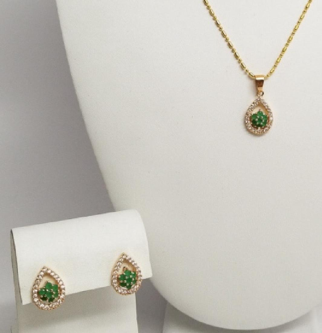 18kt Gold Filled Necklace & Earring Jewelry Suite