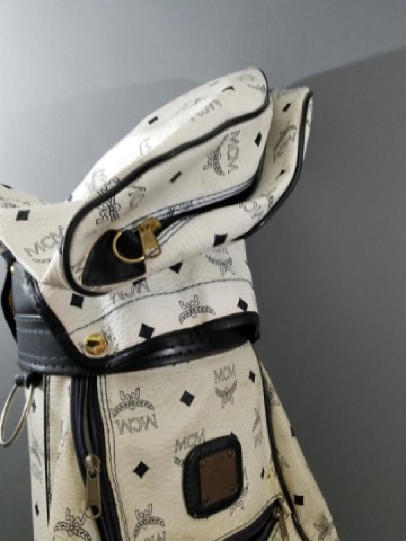 Vintage MCM Designer Leather Golf Bag Logo Print - 10