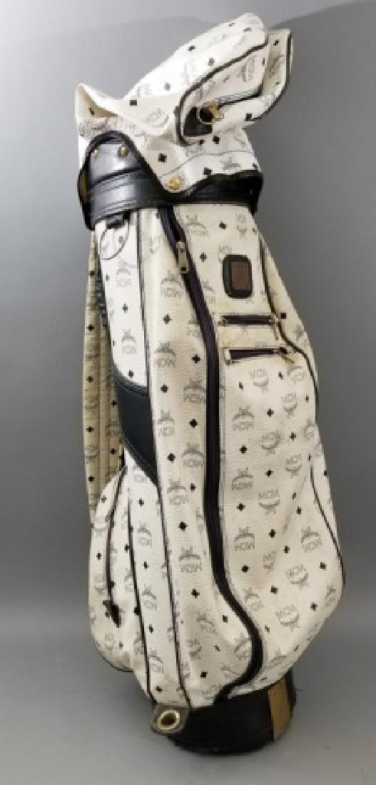 Vintage MCM Designer Leather Golf Bag Logo Print