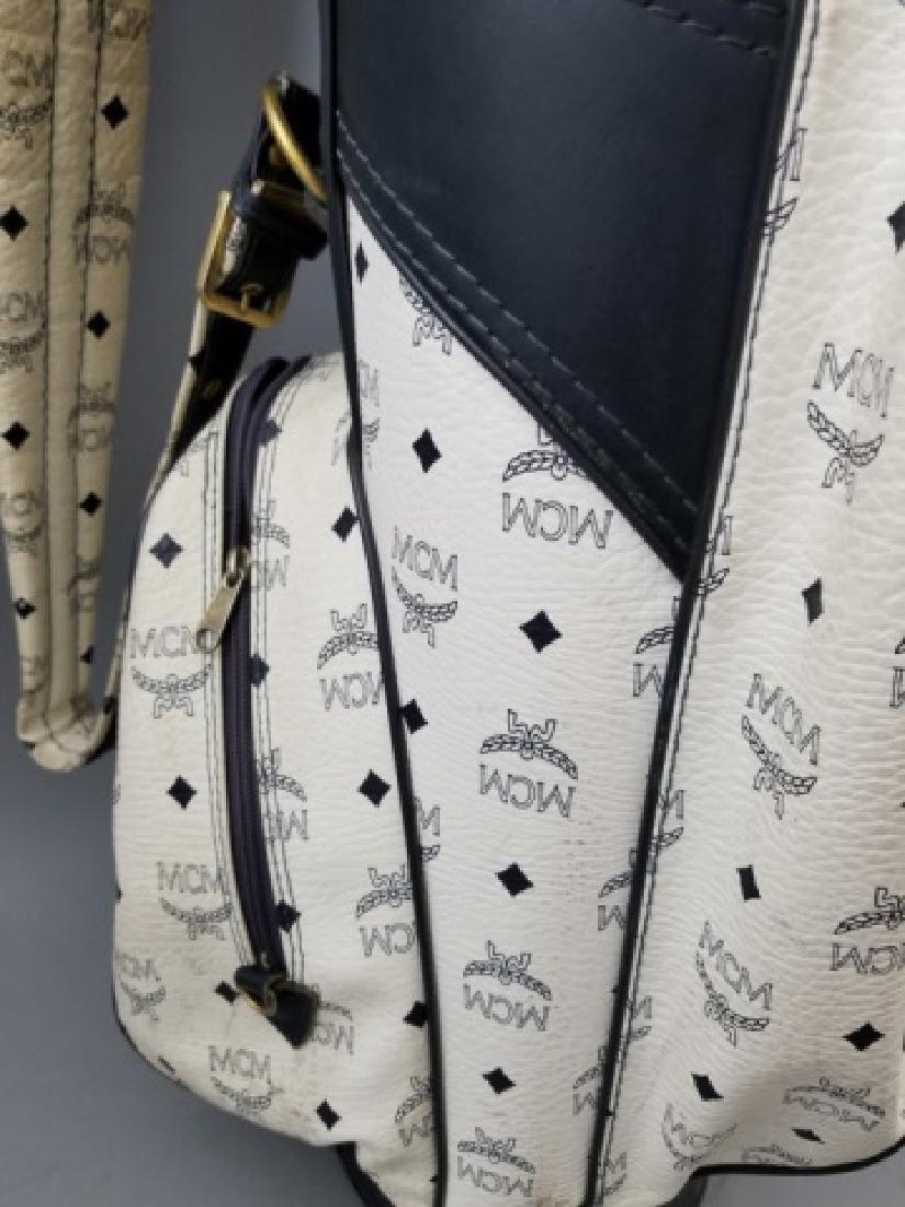 Vintage MCM Designer Leather Golf Bag Logo Print - 7