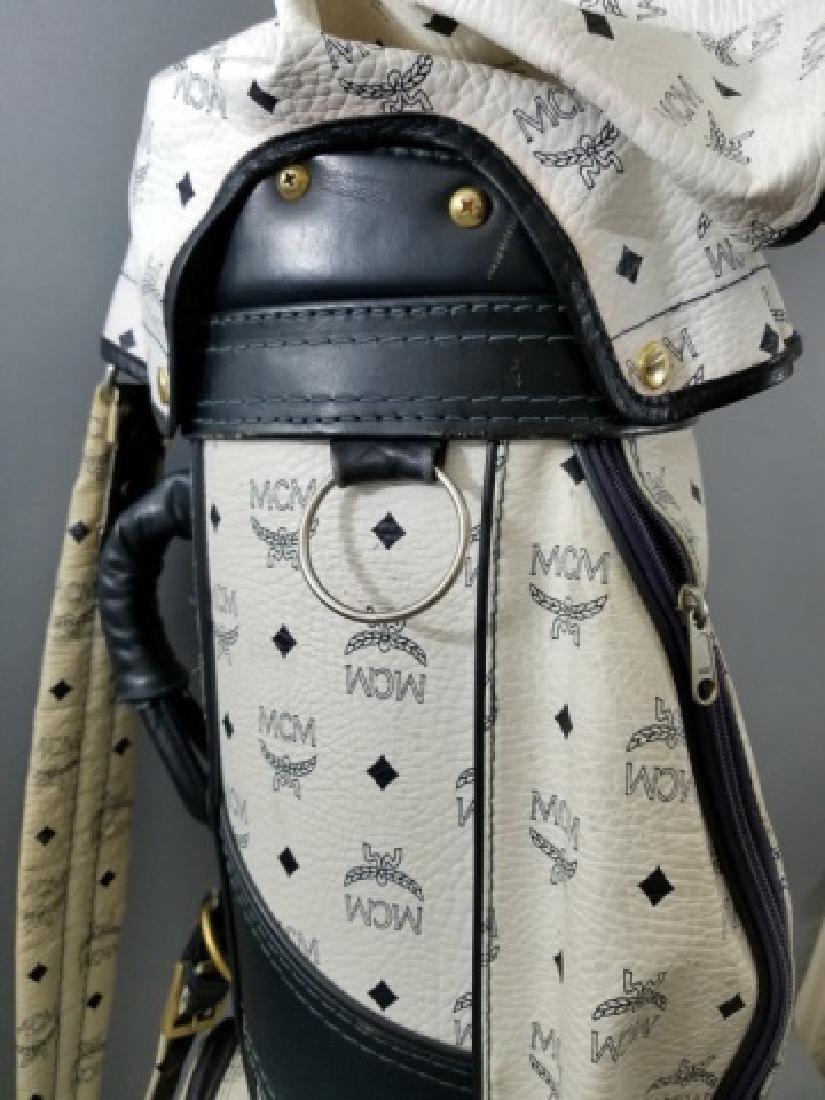 Vintage MCM Designer Leather Golf Bag Logo Print - 8
