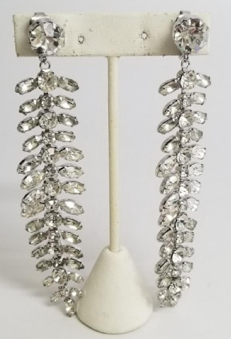 Dramatic Dangle Rhinestone & Paste-Set Earrings