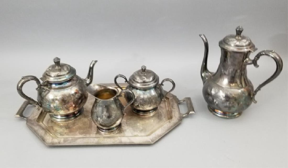Antique Pinehurst Pattern Silver Tea Coffee Set