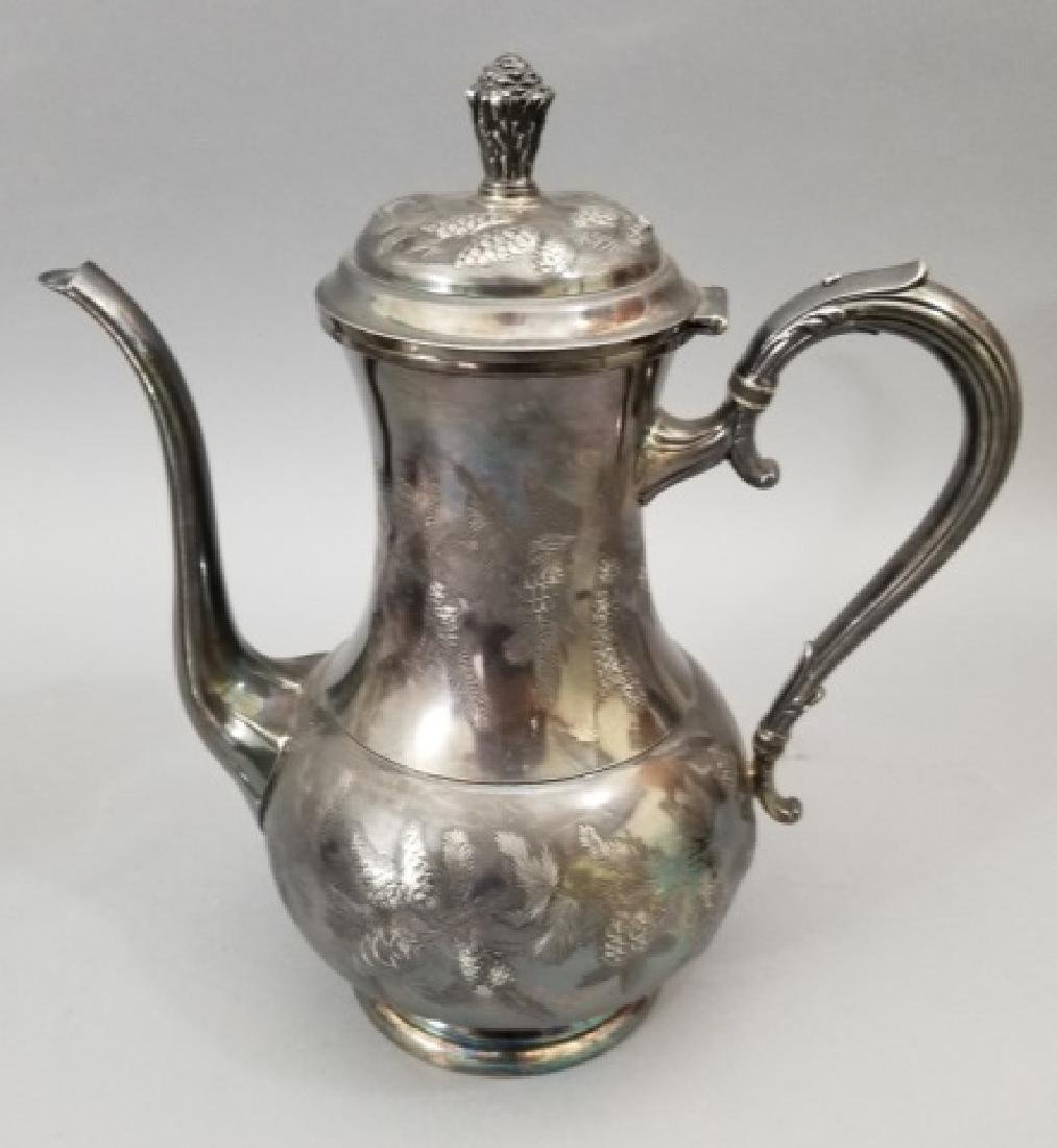 Antique Pinehurst Pattern Silver Tea Coffee Set - 3