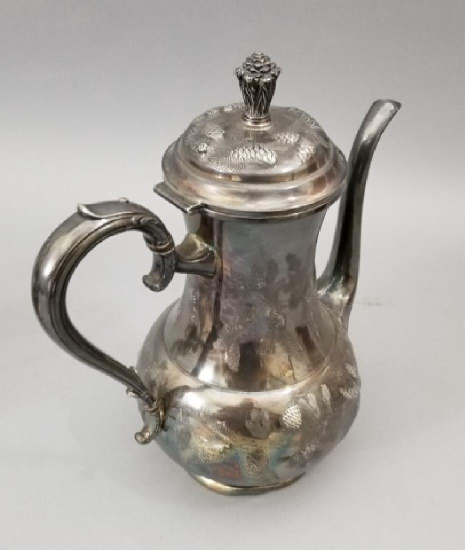 Antique Pinehurst Pattern Silver Tea Coffee Set - 4