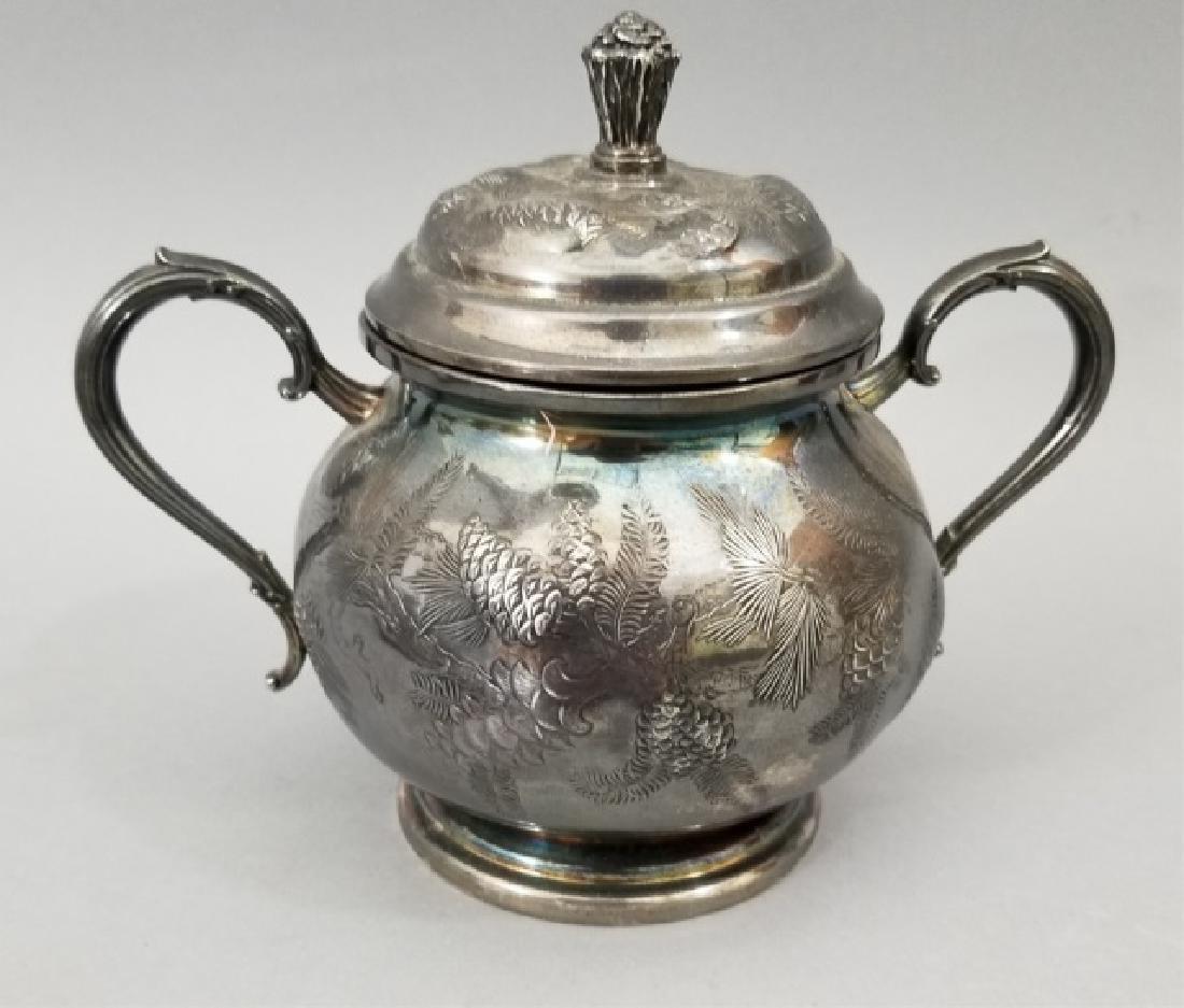 Antique Pinehurst Pattern Silver Tea Coffee Set - 6