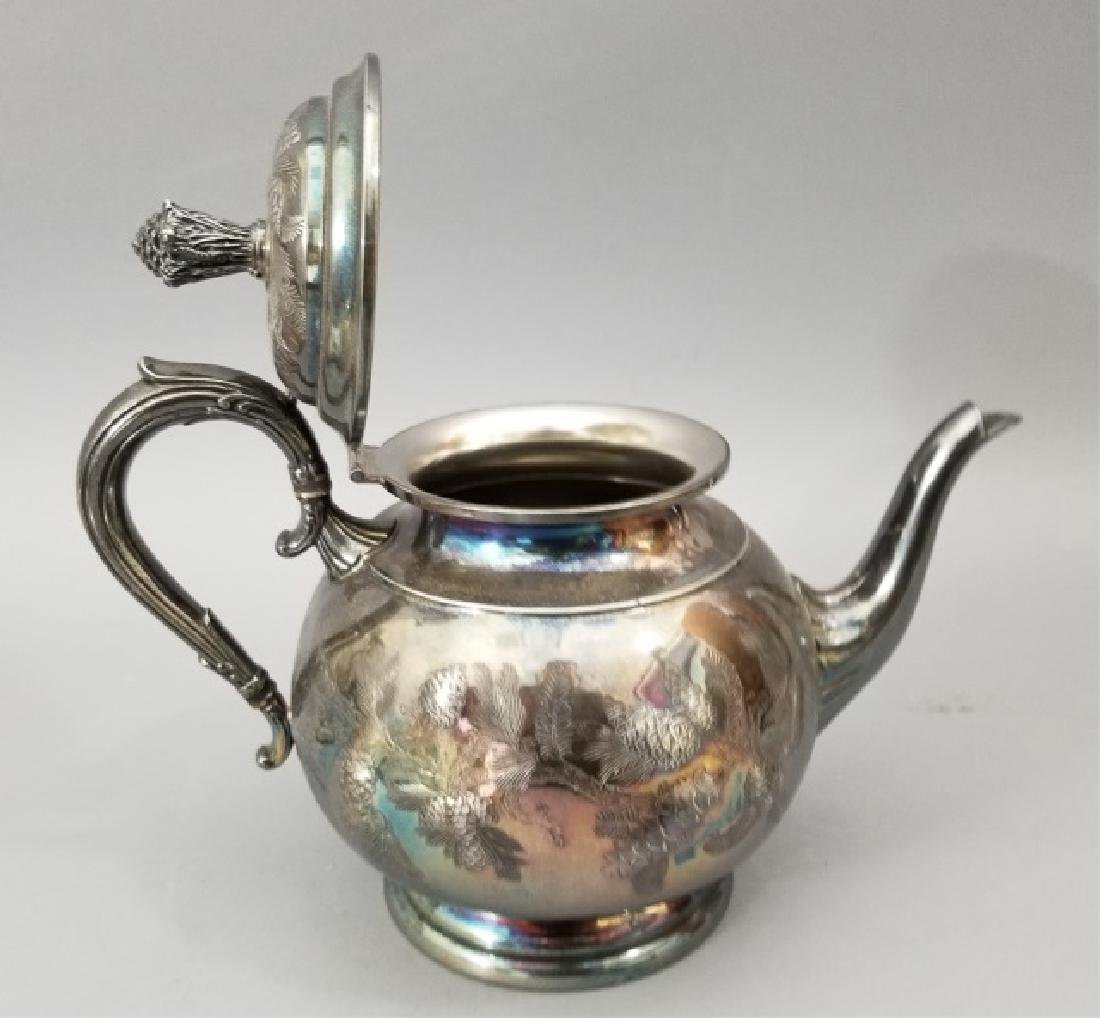 Antique Pinehurst Pattern Silver Tea Coffee Set - 8