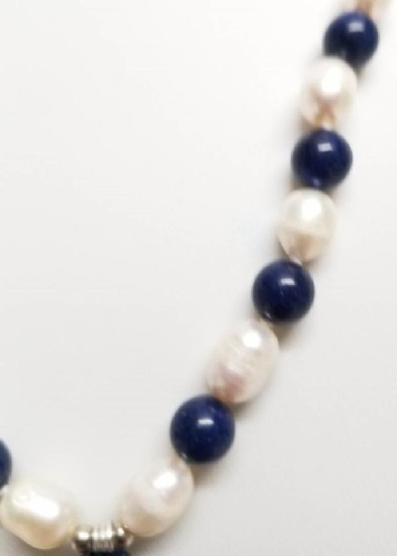 Baroque Style Pearls Lapis Lazuli Necklace Strands - 2