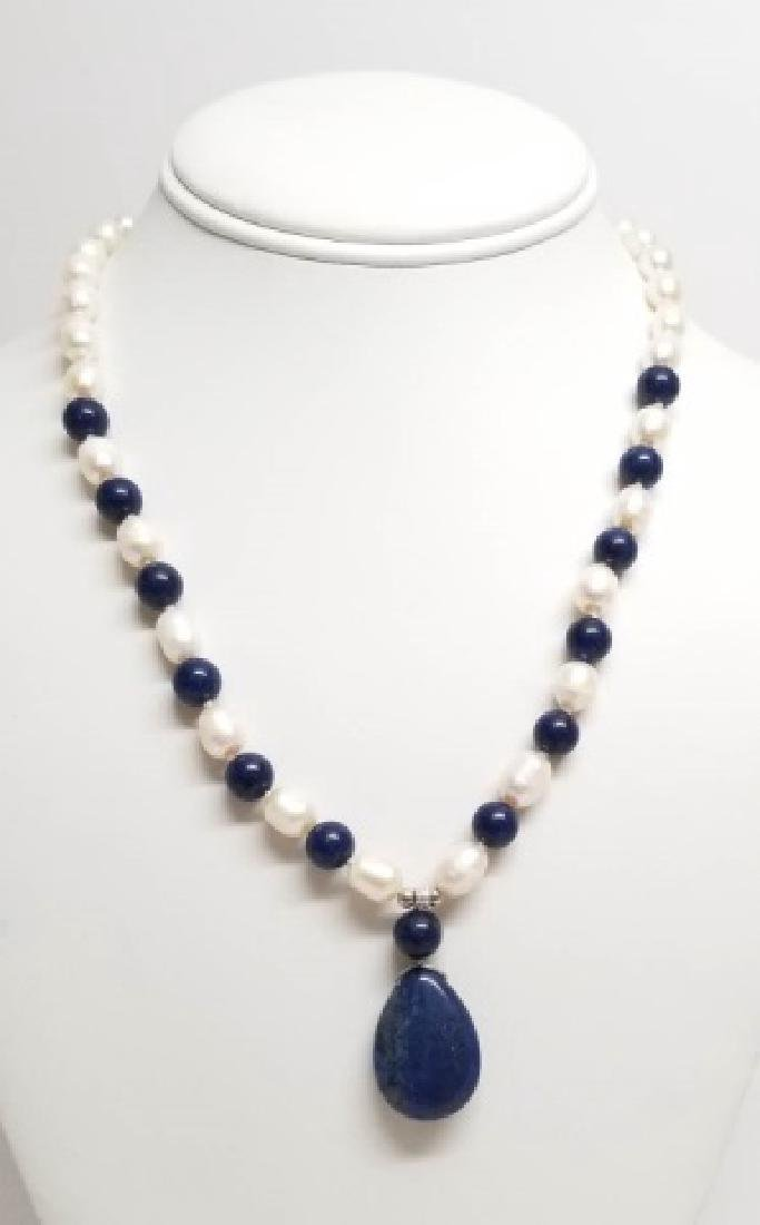 Baroque Style Pearls Lapis Lazuli Necklace Strands - 8