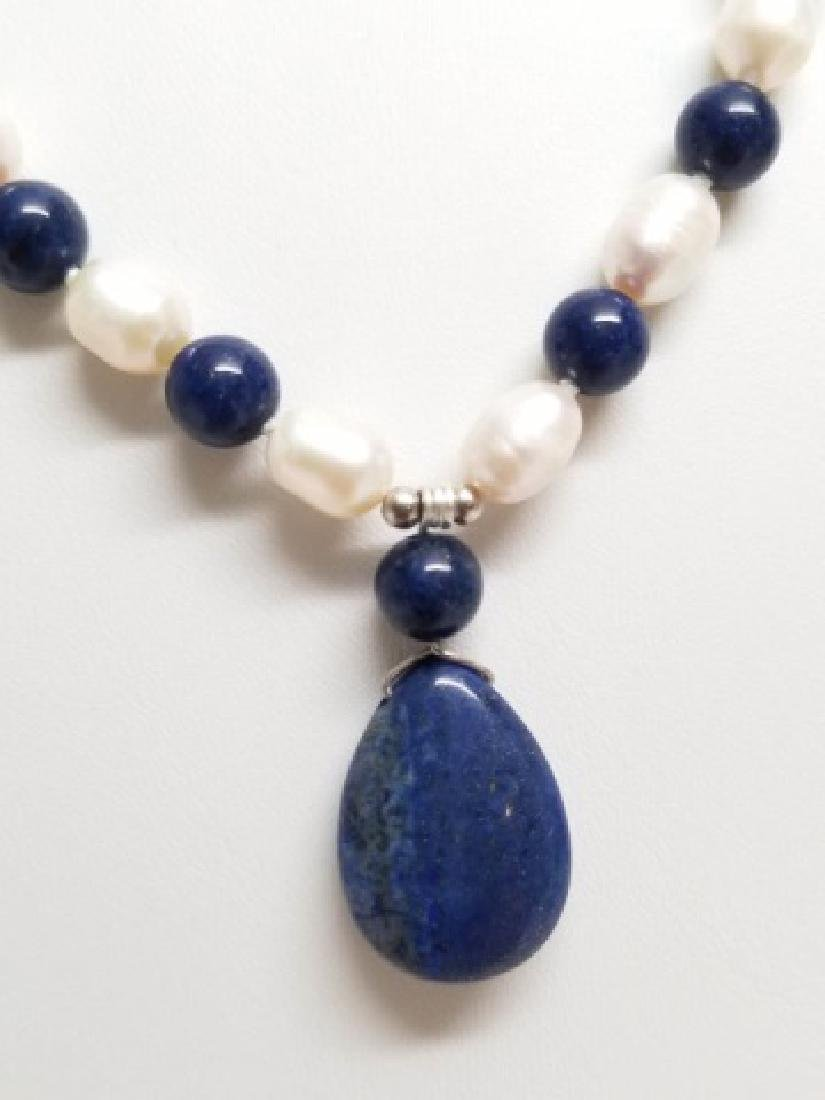 Baroque Style Pearls Lapis Lazuli Necklace Strands - 9