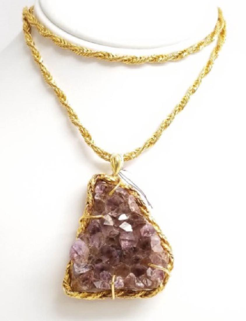 Vintage Modernist Style Amethyst Pendant Necklace