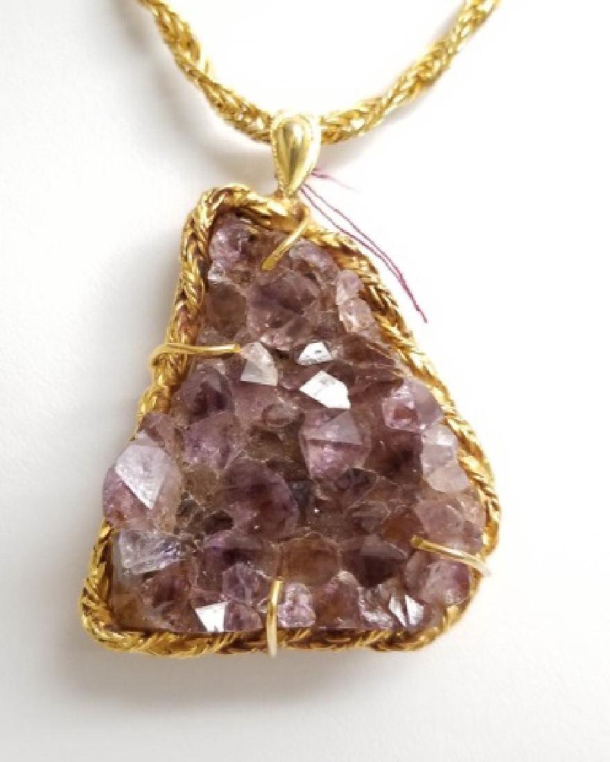 Vintage Modernist Style Amethyst Pendant Necklace - 2