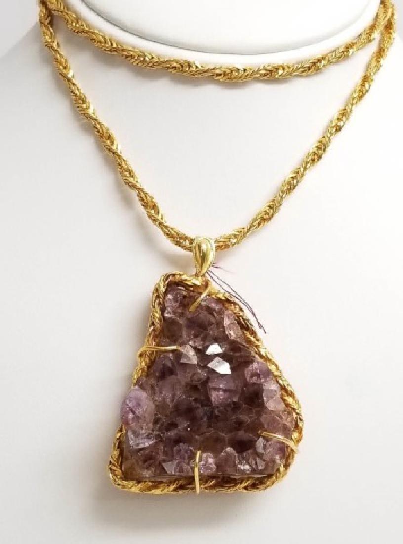 Vintage Modernist Style Amethyst Pendant Necklace - 8