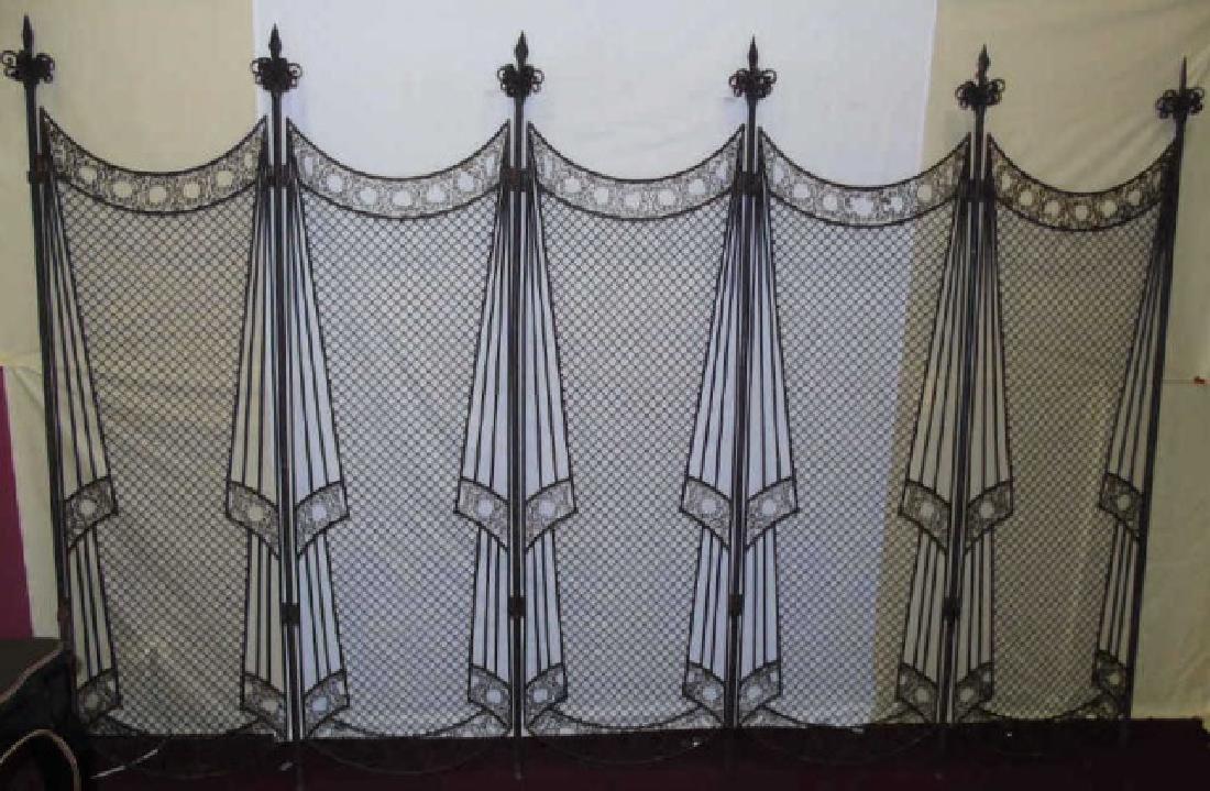 Antique Wrought Iron 5 Panel Screen