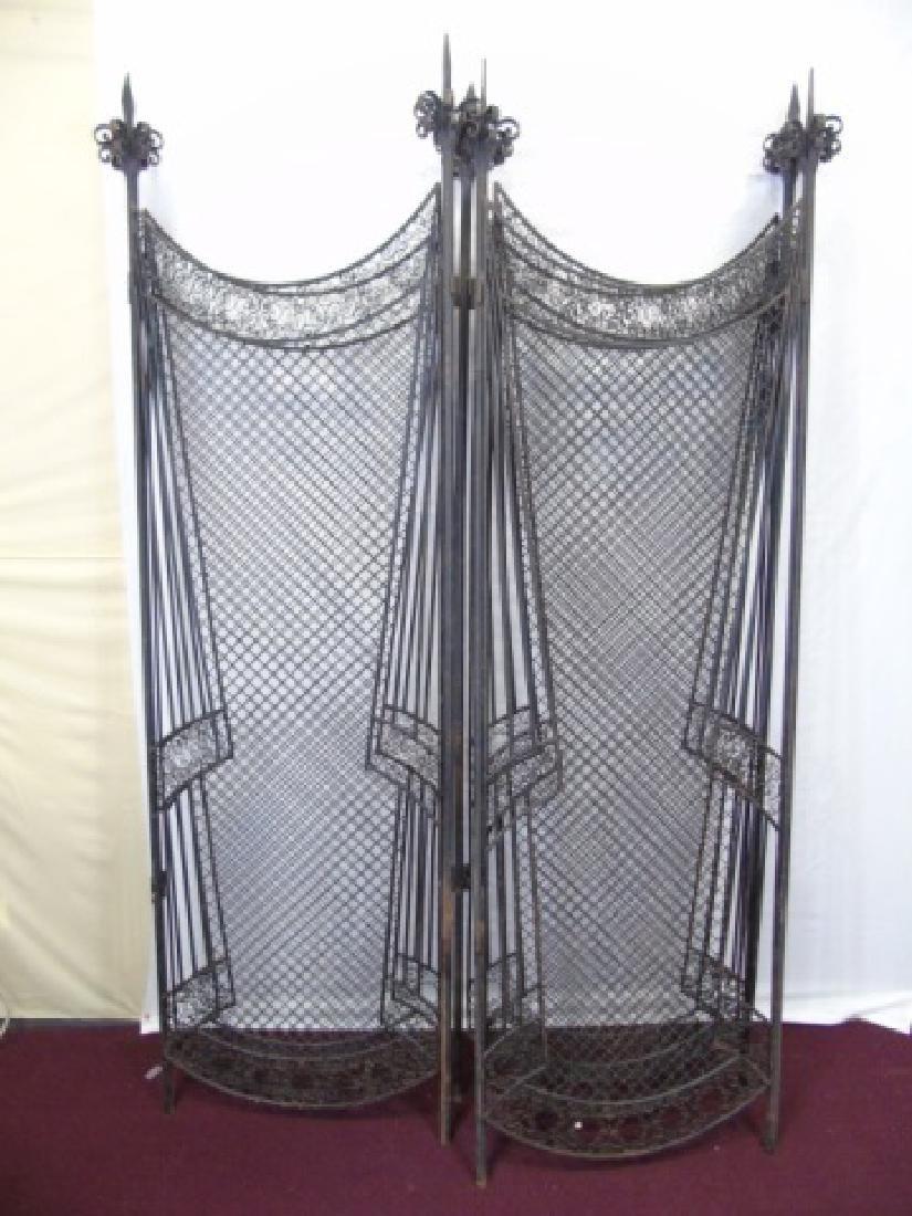Antique Wrought Iron 5 Panel Screen - 3
