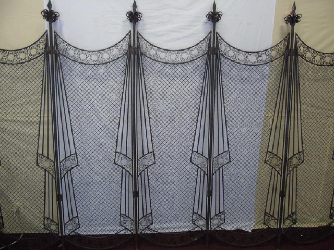 Antique Wrought Iron 5 Panel Screen - 5