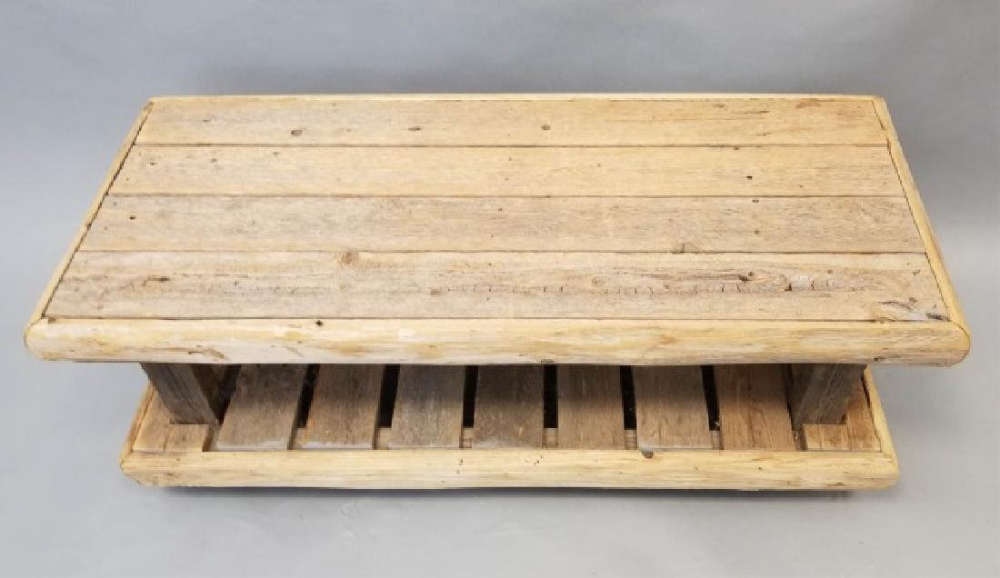 Rustic Wood Low Bench with Shelf
