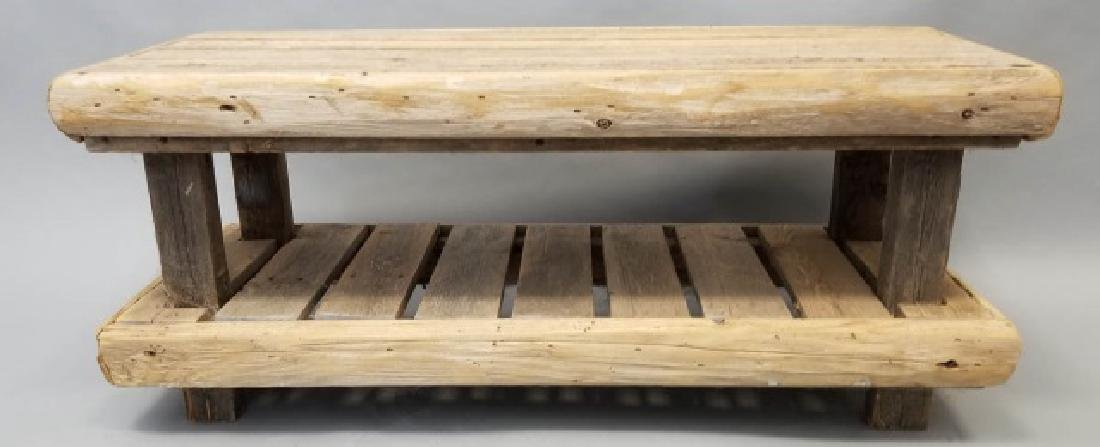 Rustic Wood Low Bench with Shelf - 3