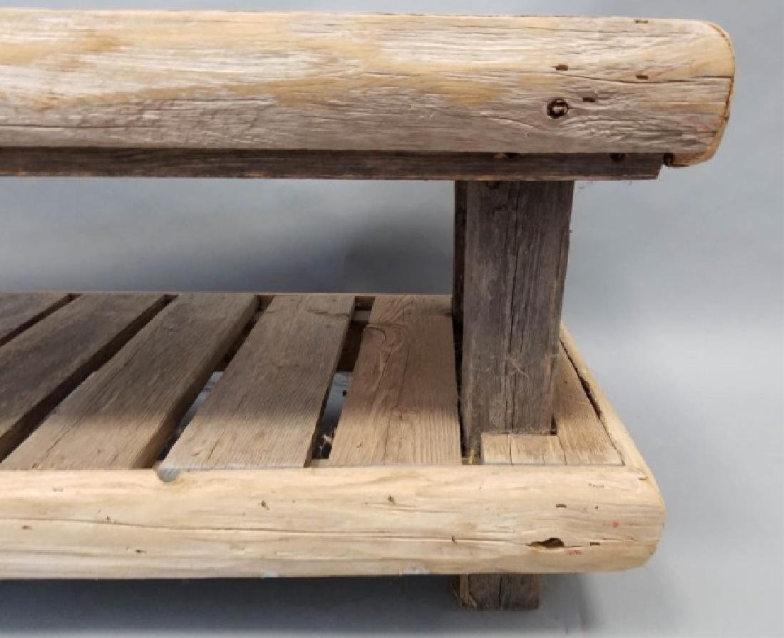 Rustic Wood Low Bench with Shelf - 4
