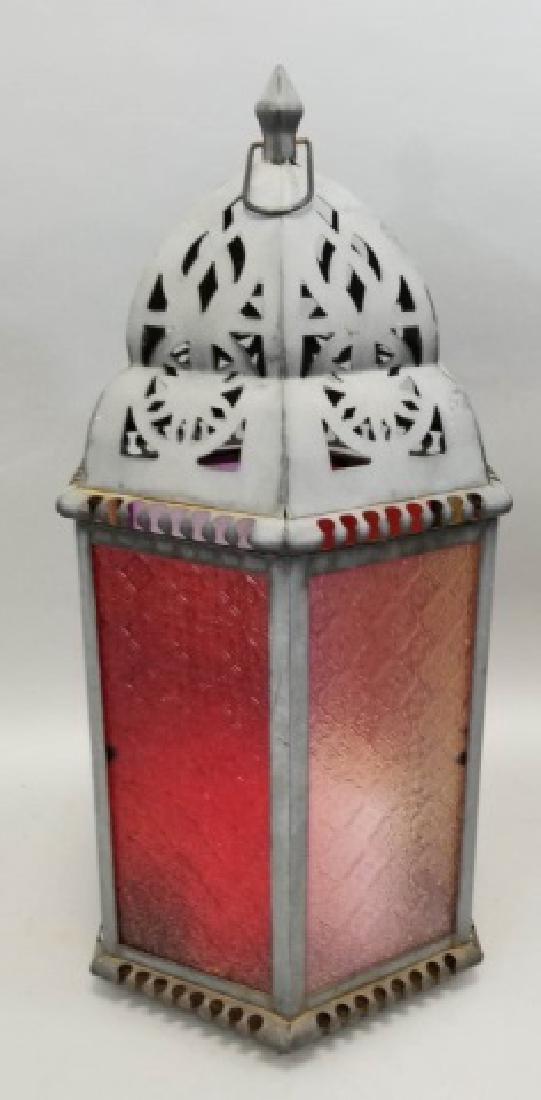 Moroccan Style Red Glass & Brass-Tone Lantern