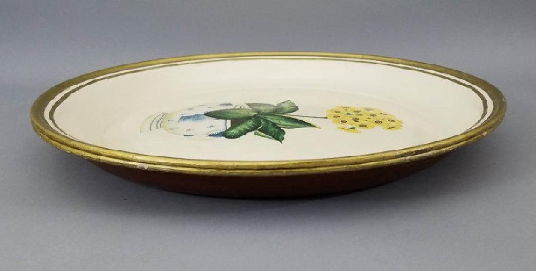 Pr Floral Motif Round Tin Gilt Edge Serving Trays