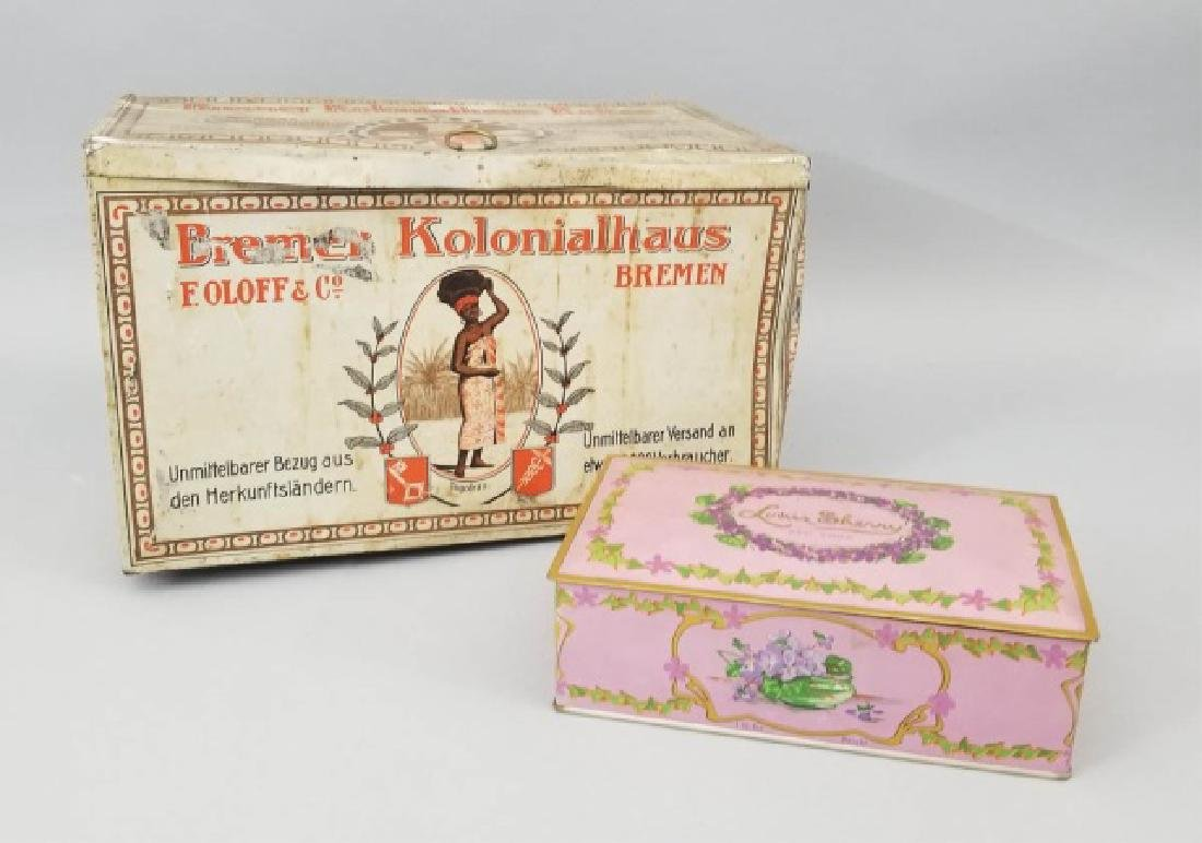 Duo of Antique Colorful Tin Boxes