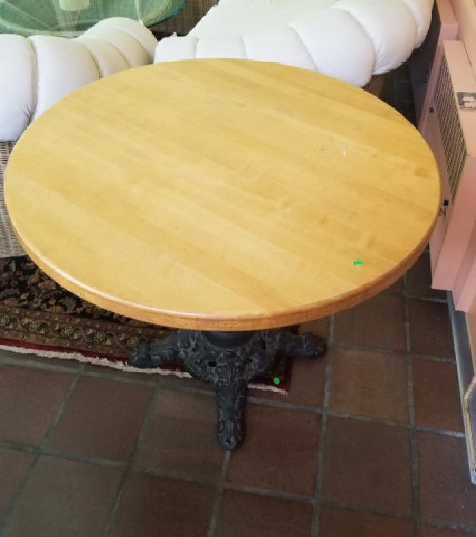 Antique Cast Iron Butcher Block Cafe Dining Table