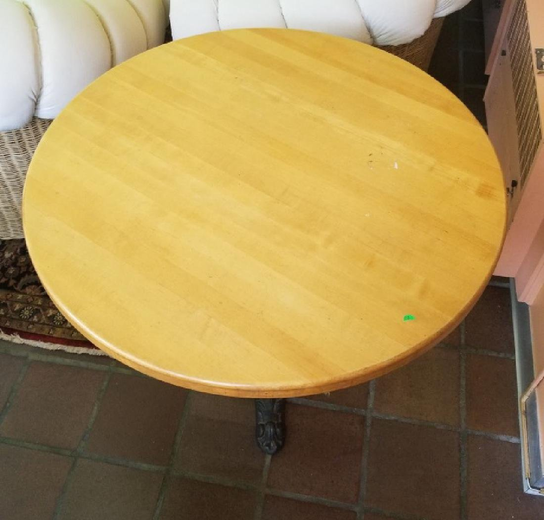 Antique Cast Iron Butcher Block Cafe Dining Table - 2