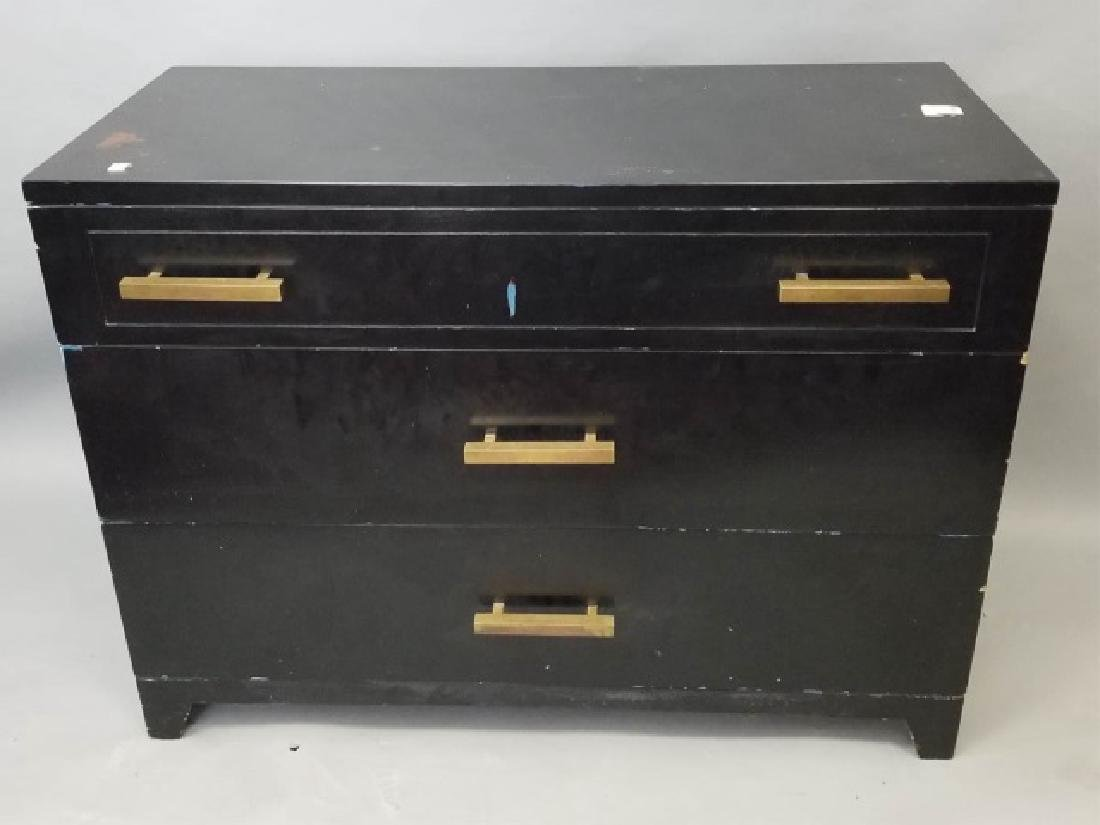 Hollywood Regency Style Black Chest of Drawers