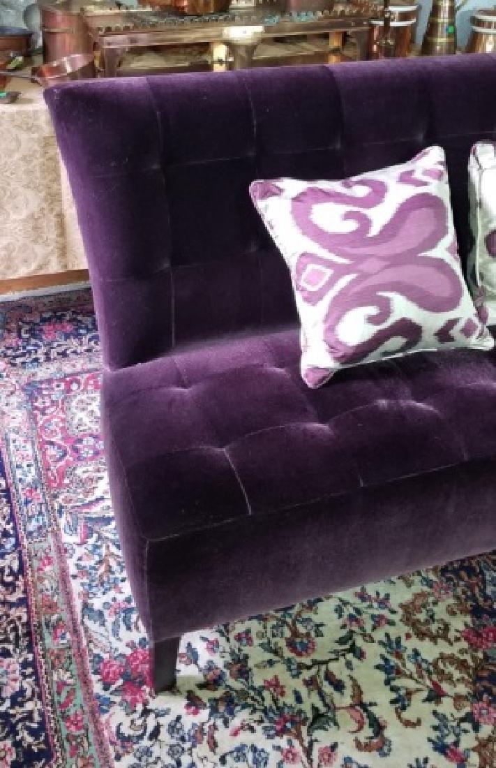 Custom Made Design Plum Mohair Velvet Sofa - 5