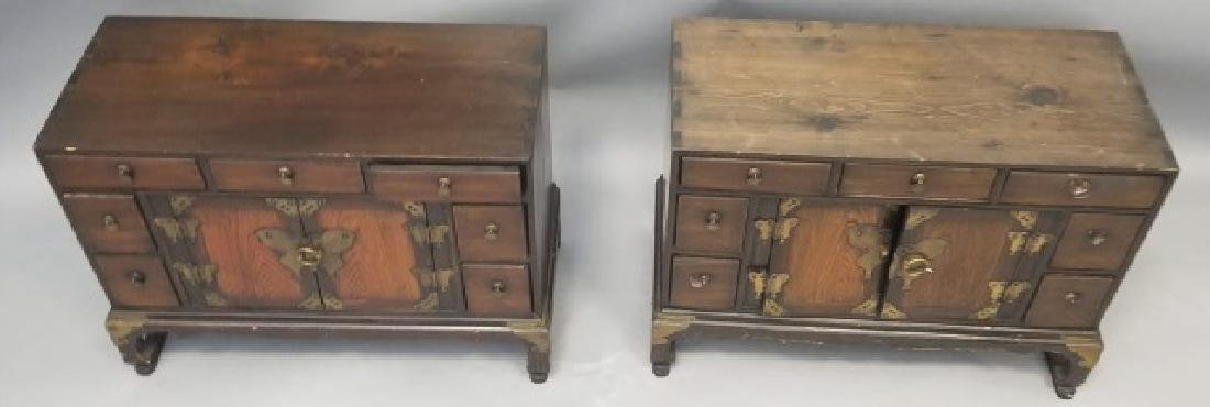Pair Chinese Style Chests on Stands End Tables