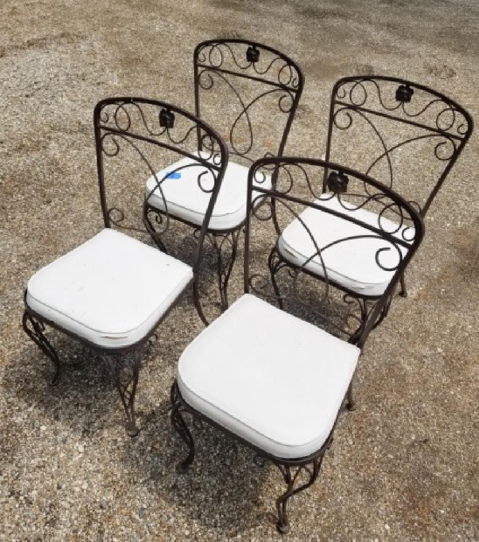 4 Vintage Outdoor / Patio Wrought Iron Side Chairs