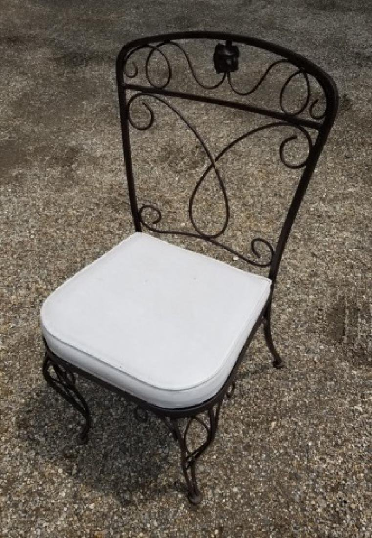 4 Vintage Outdoor / Patio Wrought Iron Side Chairs - 2
