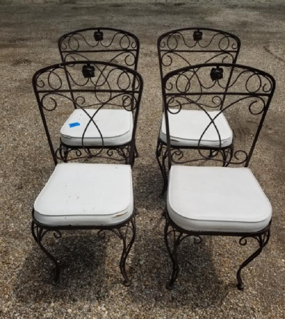 4 Vintage Outdoor / Patio Wrought Iron Side Chairs - 3