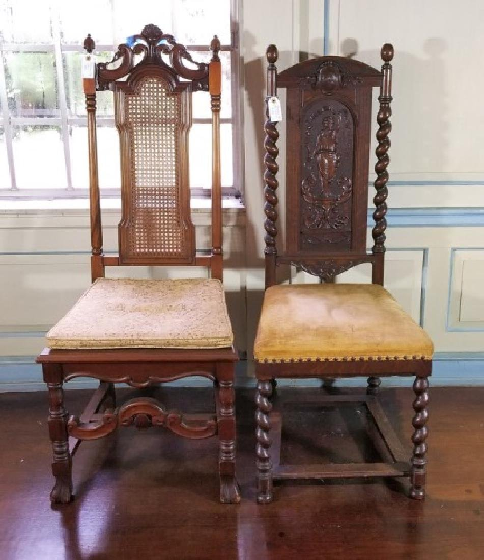Two Antique Tudor / Jacobean Style Carved Chairs