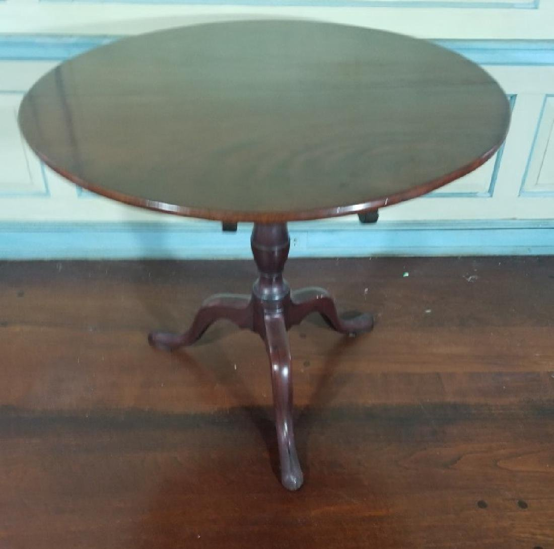 English Chippendale Style Round Pedestal End Table