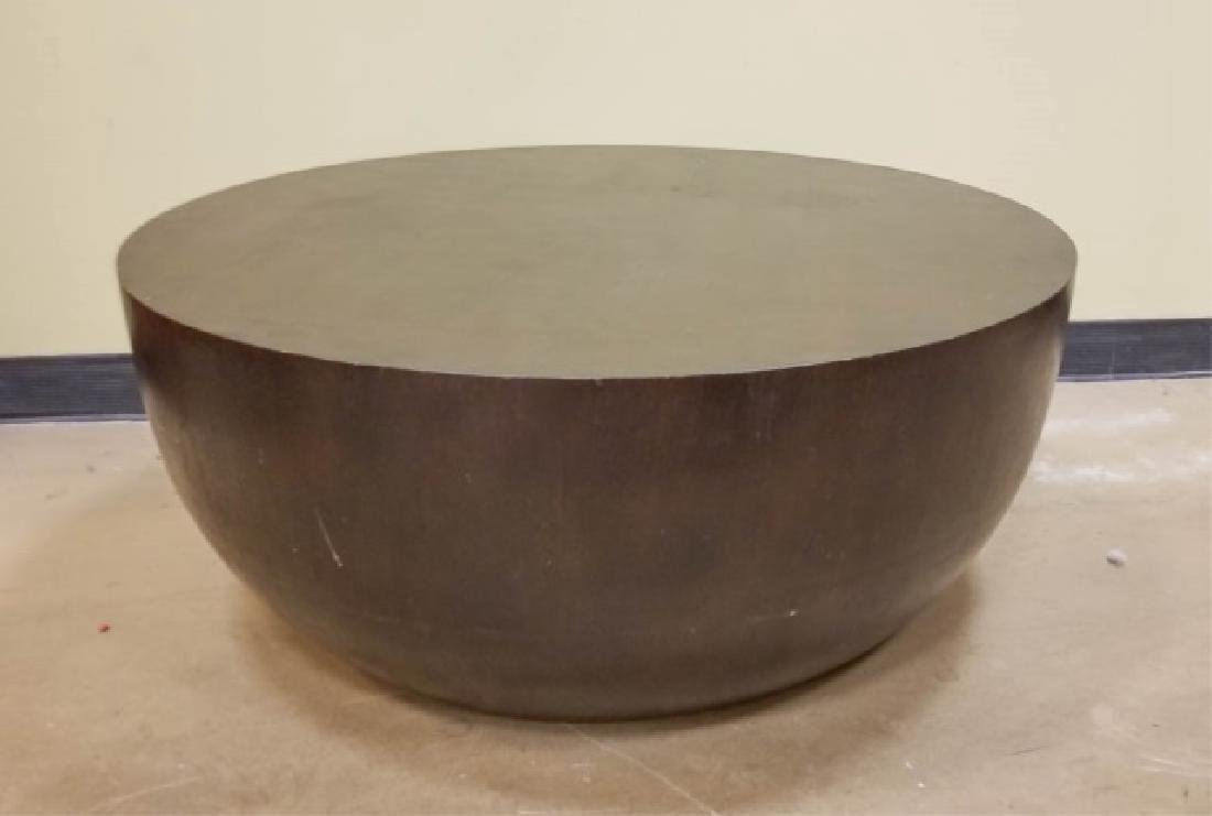 Solid Hard Wood Round Bottom Drum Coffee Table