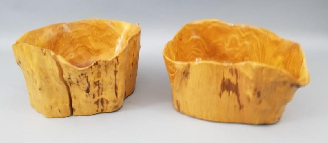 Pair Hand Carved Burl Wood Serving Accent Bowls