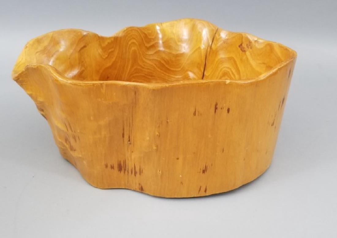 Pair Hand Carved Burl Wood Serving Accent Bowls - 5