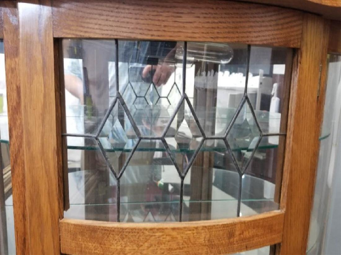 Oak Curio Cabinet with Glass Shelves w Lock & Key - 4