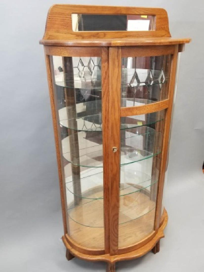 Oak Curio Cabinet with Glass Shelves w Lock & Key - 6
