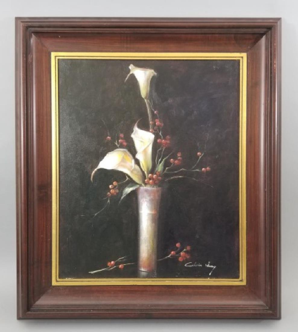 Calvin Wang Painting - Cala Lilies & Red Berries