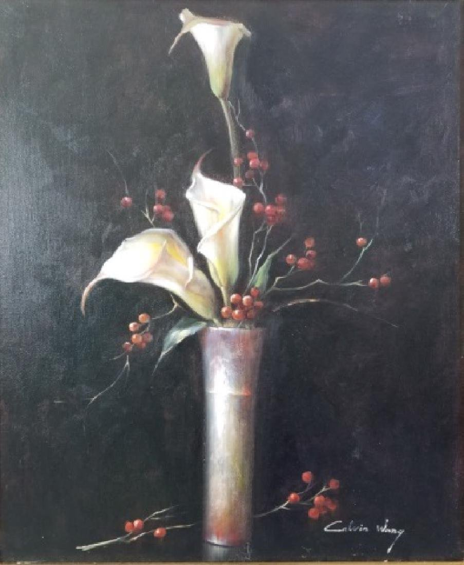 Calvin Wang Painting - Cala Lilies & Red Berries - 5