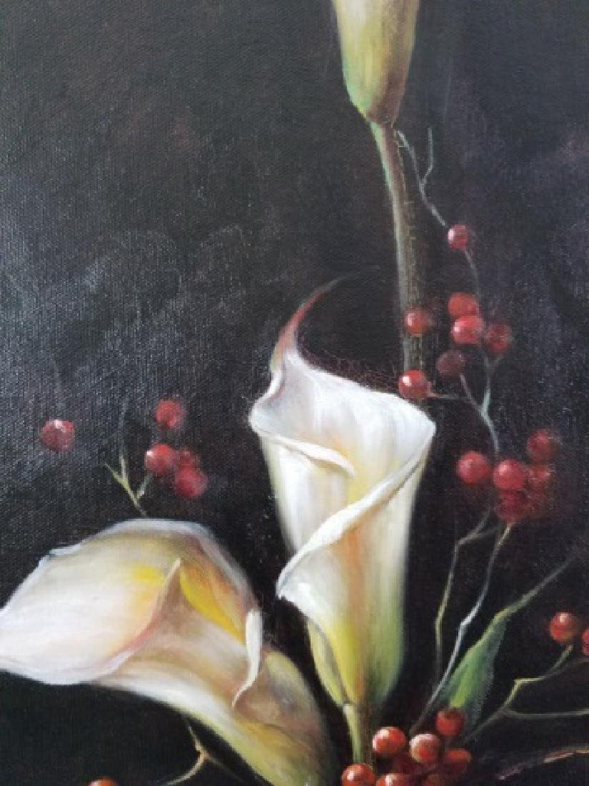 Calvin Wang Painting - Cala Lilies & Red Berries - 6