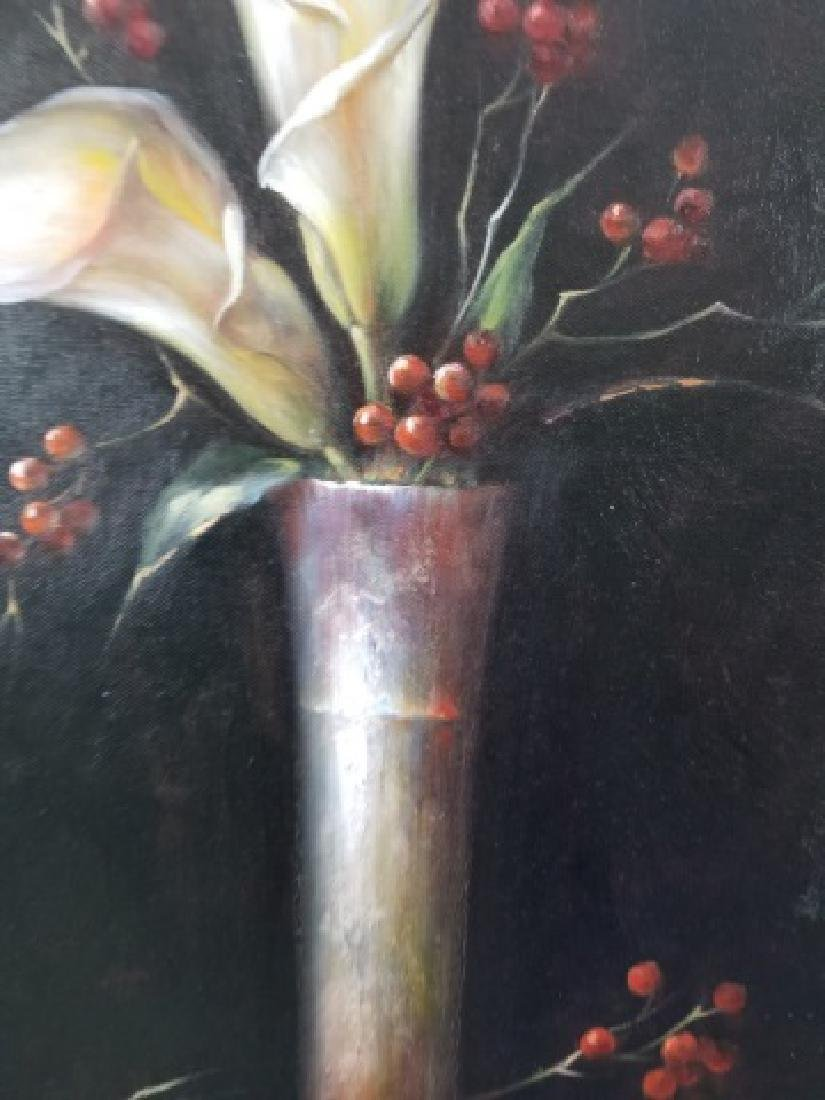 Calvin Wang Painting - Cala Lilies & Red Berries - 7