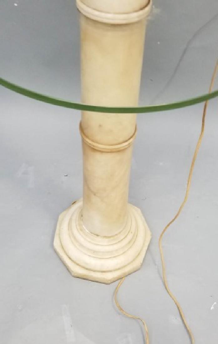 Antique Carved Alabaster Pedestal Mounted as Lamp - 3