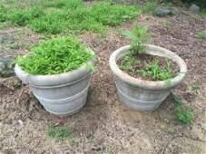 Pair Cast Stone Garden / Patio Planter Pots