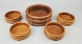 Danish Modern Style 5 Piece Teak Wood Salad Set
