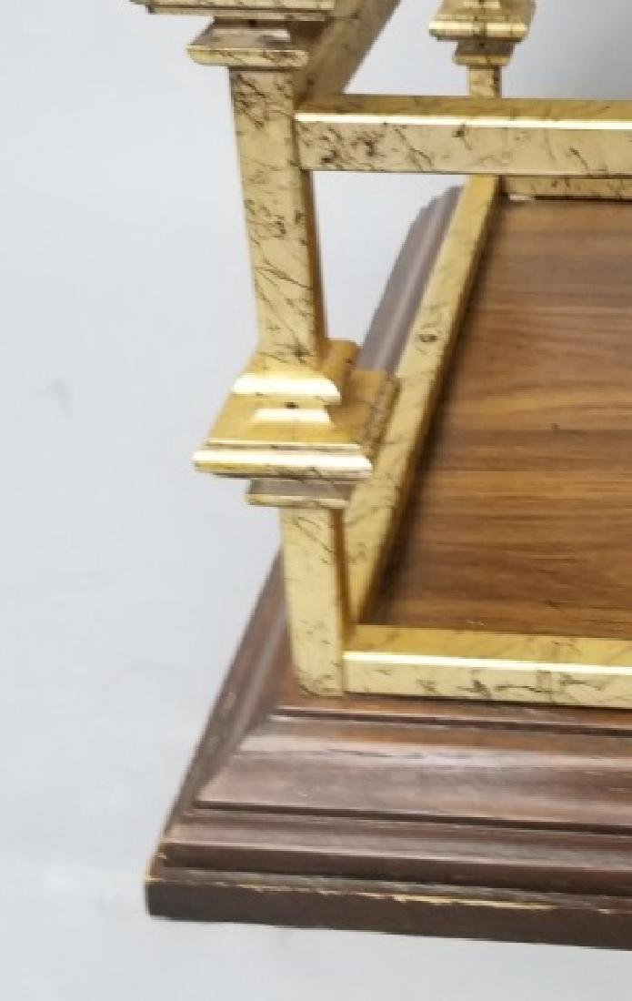 Contemporary End Table Gold Painted Wood & Glass - 4