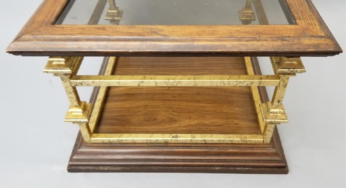 Contemporary End Table Gold Painted Wood & Glass - 5